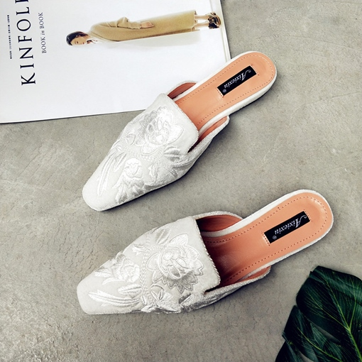 Suede Embroidery Floral Women's Flat Mules Shoes