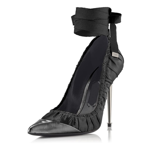 Ankle Strappy Shoes Pointed Toe Black High Heels