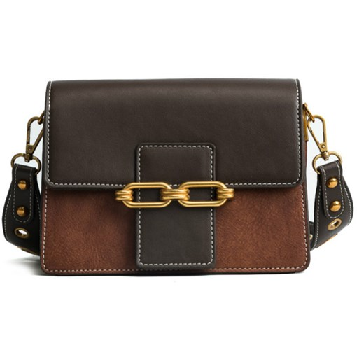 Chic Color Block Latch Decoration Crossbody Bag