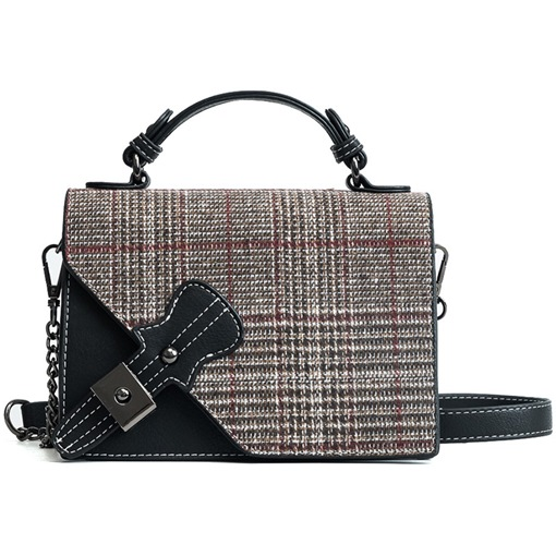 Trendy Wool Blends Plaid Crossbody Bag