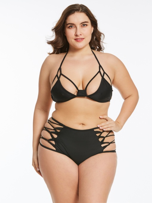 Black Hollow High-Waist Plus Size Bikini Set