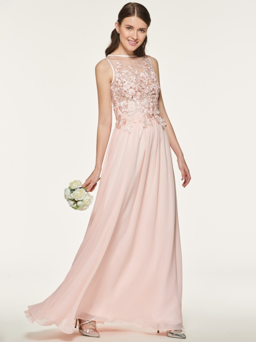 Button Appliques Beading Long Bridesmaid Dress