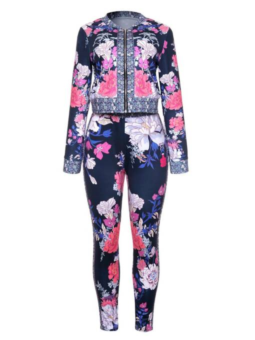 Floral Print Long Sleeve Women's Two Piece Set