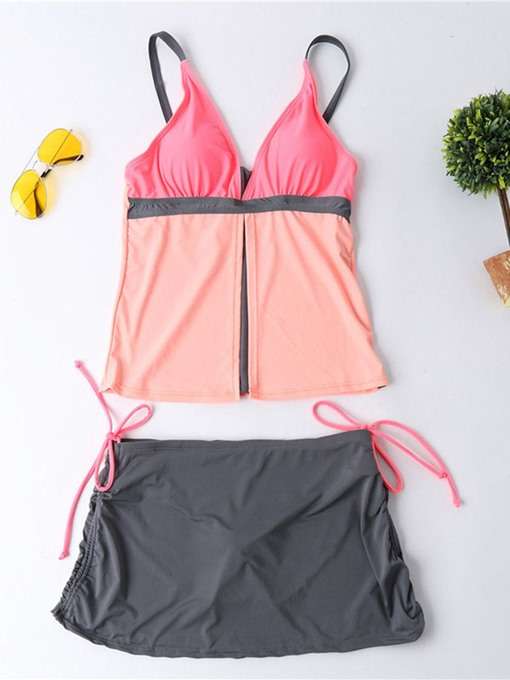 Color Block Side Tie Athleisure Women's Tankini Set