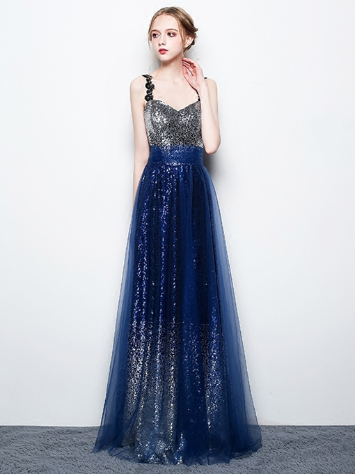 Lace A-Line Sequins Staps Evening Dress