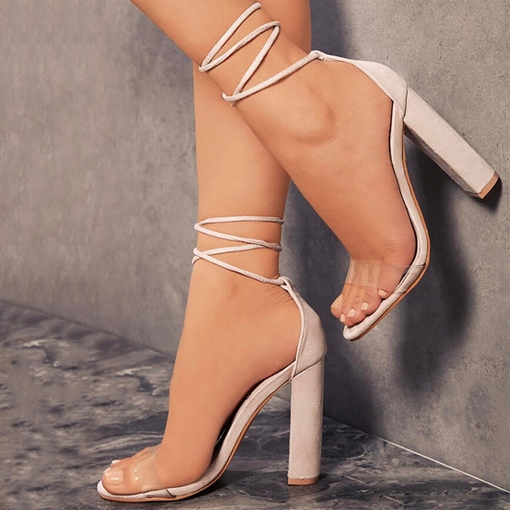 Chunky Heel Lace Up Suede Sandals for Women