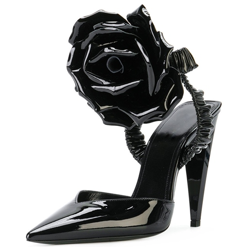 Flower Patent Leather Ankle Strap Women's Banquet Shoes