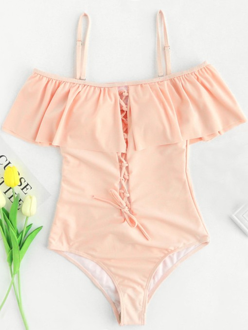 Plain Falbala Hollow One-Piece Swimsuit