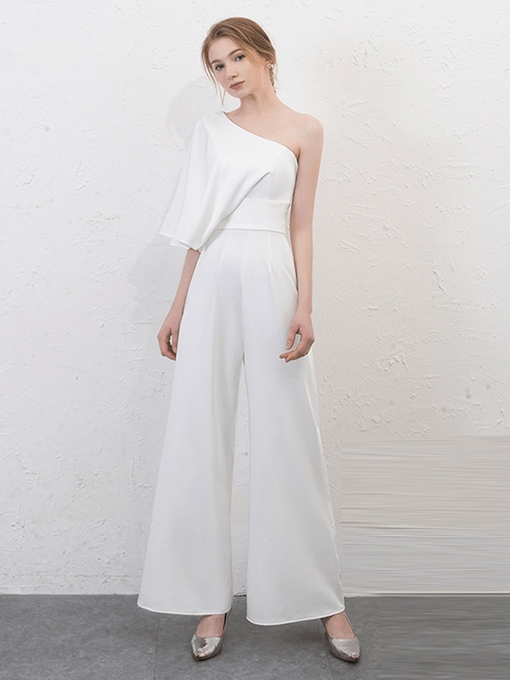 A-Line One-Shoulder Pick-Ups Evening Jumpsuits