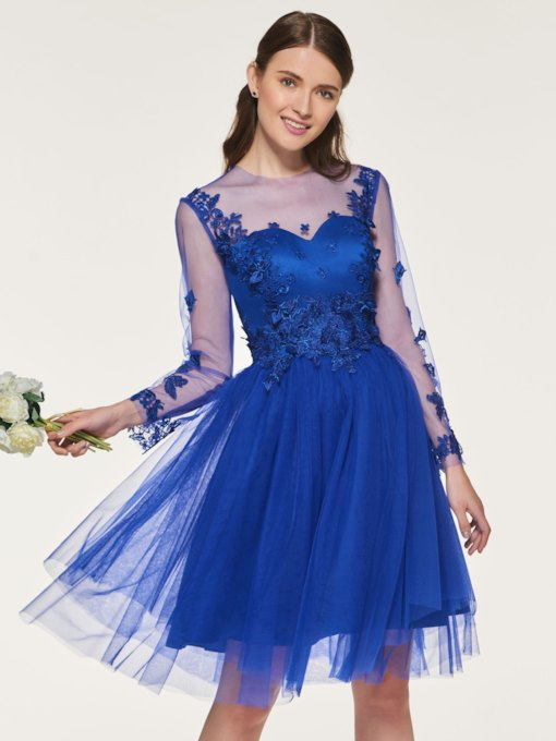 Illusion Neck Appliques Long Sleeve Bridesmaid Dress