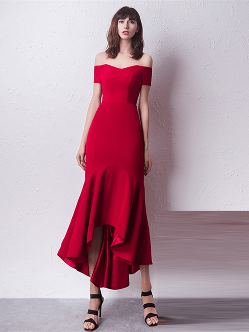 Off-the-Shoulder Sheath Asymmetry Evening Dress