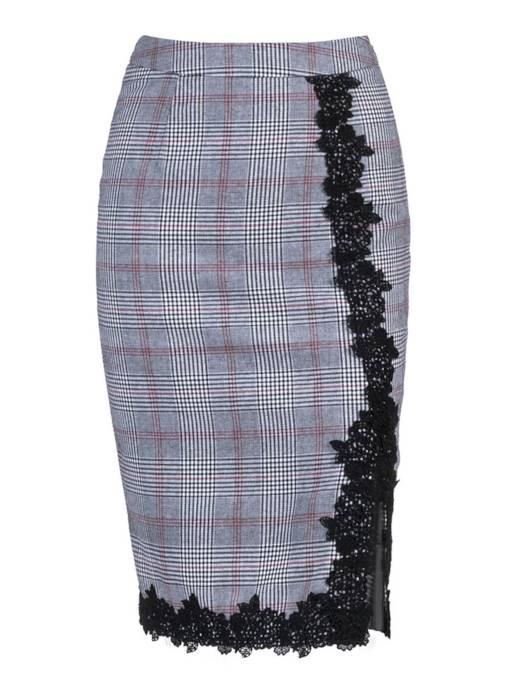 Plaid Patchwork Lace Bodycon Women's Skirt