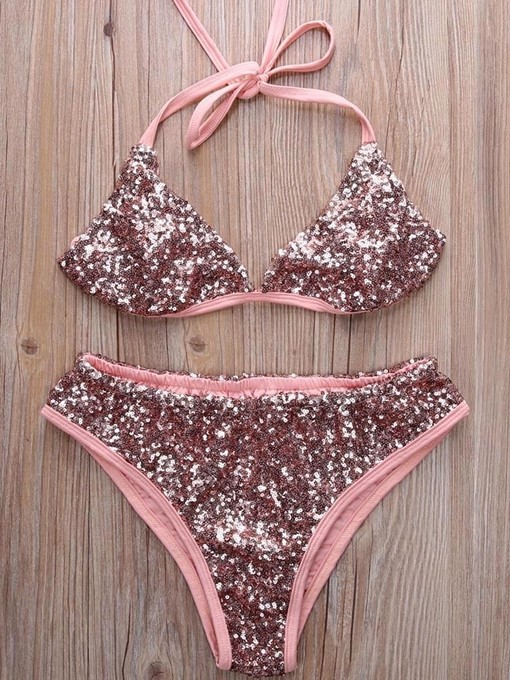 Ensemble de bikini triangulaire à sequins