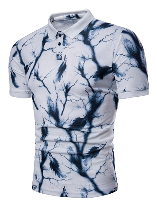 Lapel Splash-Ink Print Slim Men's Polo