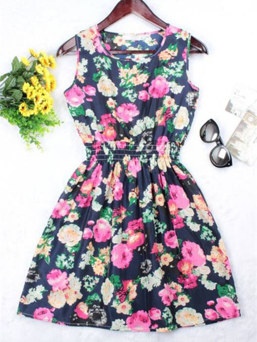 Pullover Sleeveless Print Women's A-Line Dress