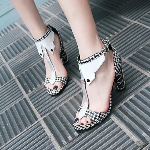 Houndstooth Fabric Chunky Heel Designer Shoes for Women