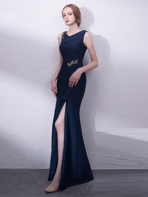 V-Neck Beading Crystal Mermaid Evening Dress