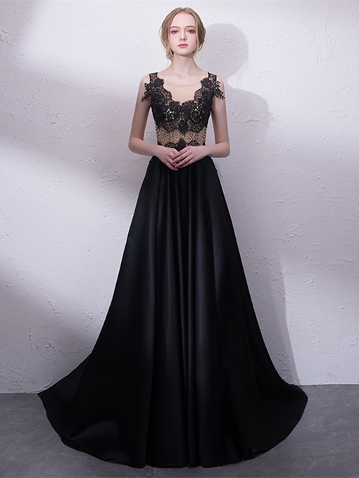 A-Line Beading Scoop Lace Evening Dress
