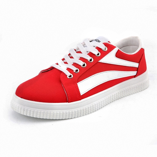 Color Block Tie Up Round Toe Skateboard Shoes for Men
