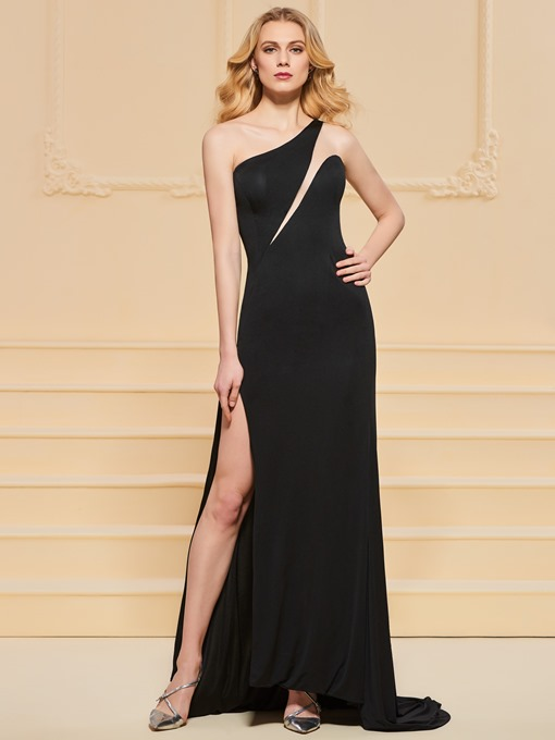 One-Shoulder Sheath Empire Evening Dress