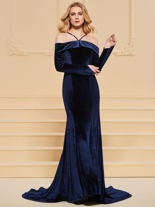 Open Shoulder Mermaid Long Sleeves Evening Dress