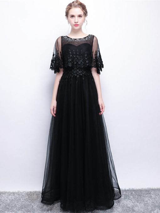 A-Line Appliques Beading Half Sleeves Evening Dress
