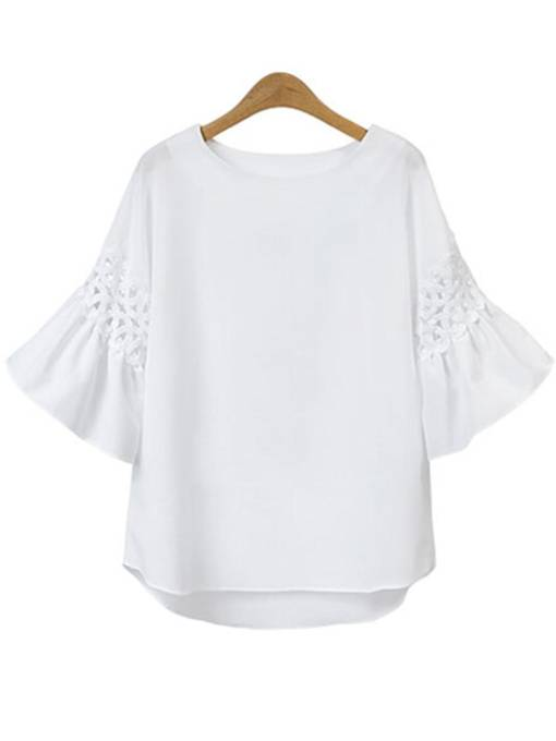 Plain Short Sleeve Women's T-Shirt Linne Hole Tops