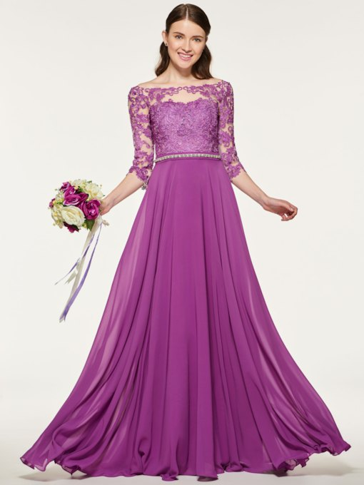 Appliques Low Back Bridesmaid Dress with Sleeves