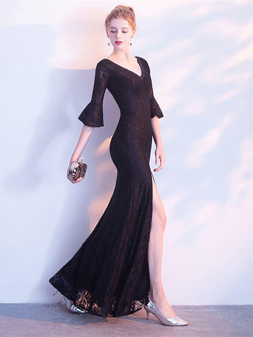 V-Neck Lace Half Sleeves Beading Evening Dress