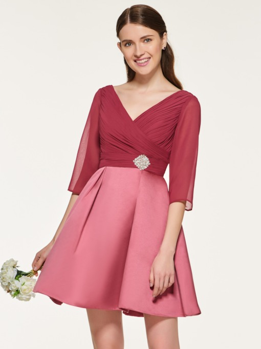 Half Sleeve Beading Short Bridesmaid Dress