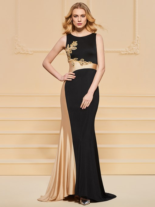 Scoop Neck Beading Sheath Evening Dress