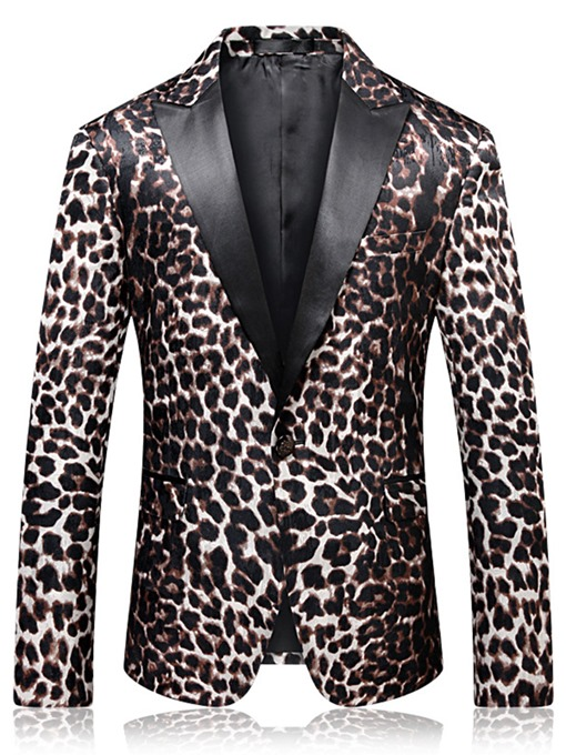 Leopard Notched Collar Men's Blazer