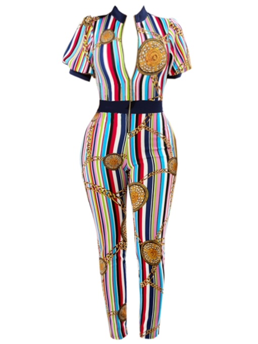 Stripe Color Block Print Women's Jumpsuit