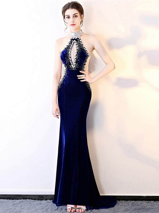 Halter Velvet Beading Rhinestone Evening Dress