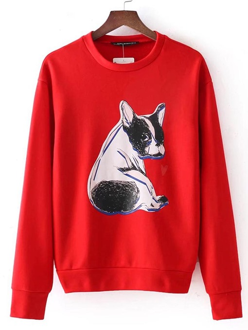 Loose Puppy Print Long Sleeve Women's Sweatshirt