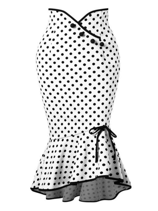 Polka Dot hohe Taille A-Linie Bodycon Frauen Rock