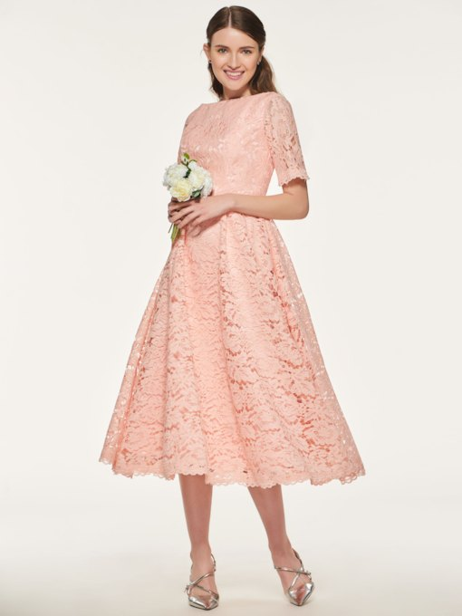 Short Sleeve Tea-Length Lace Bridesmaid Dress