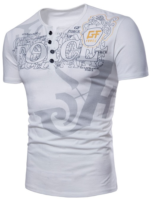 Round Collar Print Thin Slim Men's T-Shirt