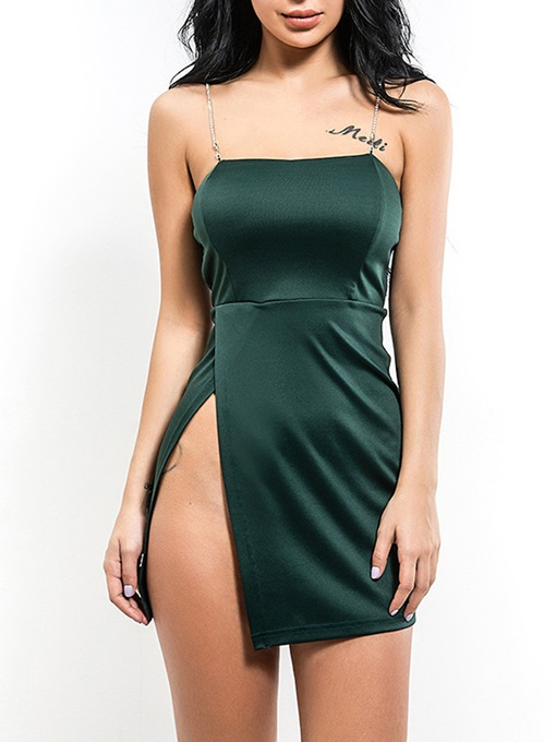 Spaghetti Straps Dark Green Women's Party Dress