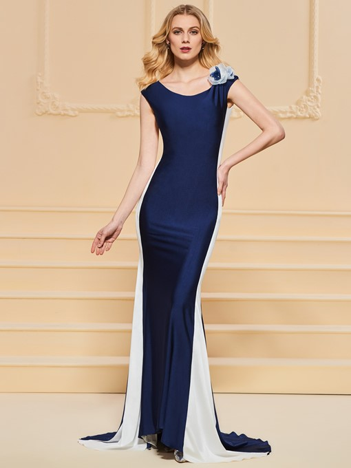 Trumpet Scoop Flowers Evening Dress
