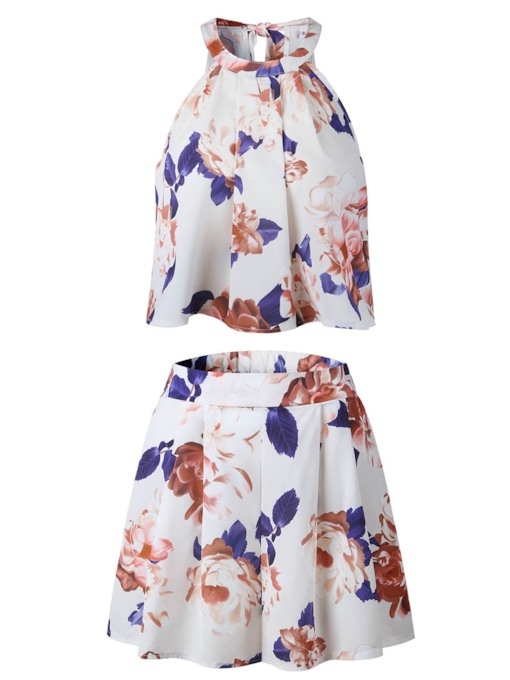 Floral Print Short Sleeveless Women's Two Piece Set