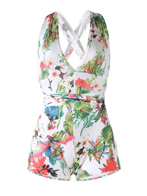 Sexy Floral Printed Backless Women's Rompers
