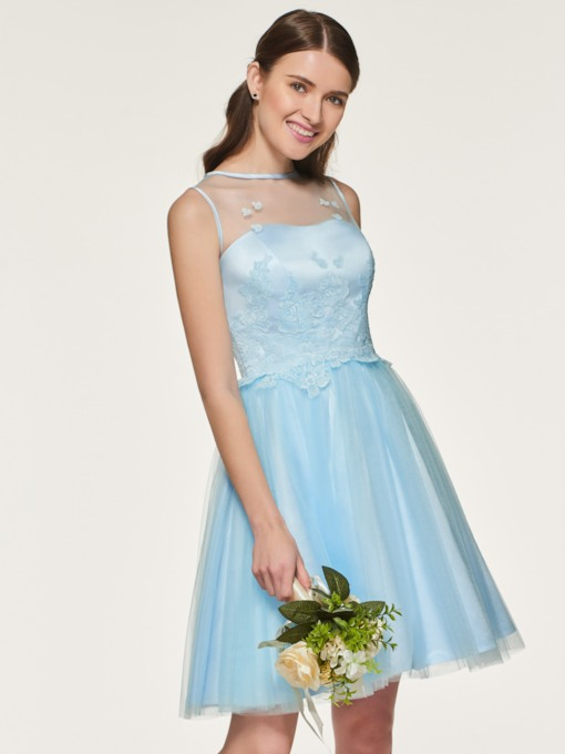 Lace Appliques Short Bridesmaid Dress
