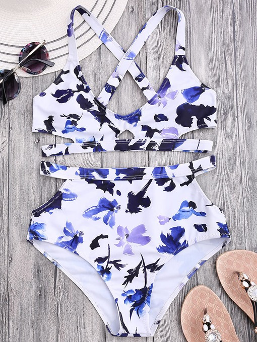 Dye Floral Print Adjustable Strap Women's Bikini Set