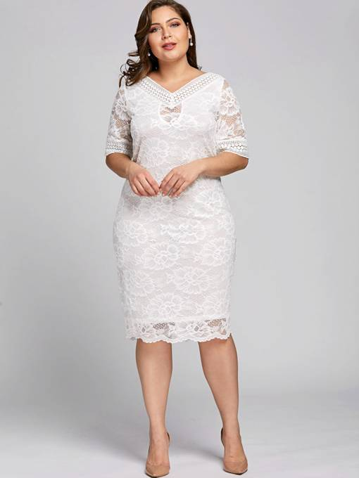 Plus Size White V-Neck Plain Women's Lace Dress