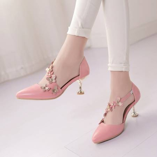 Slip On Pointed Toe Floral Women's Prom Shoes