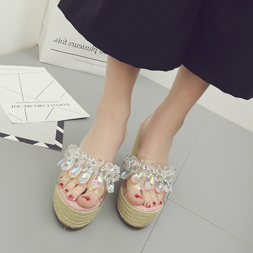 Clear Rhinestone High With Shoes Women's Slippers