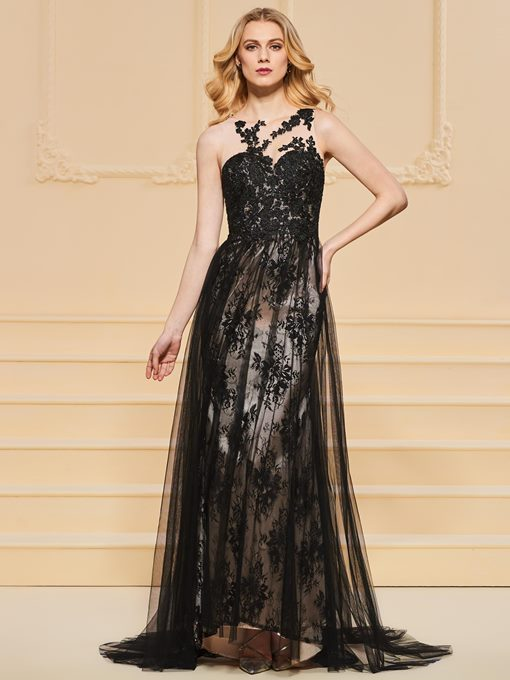 A-Line Button Appliques Lace Evening Dress