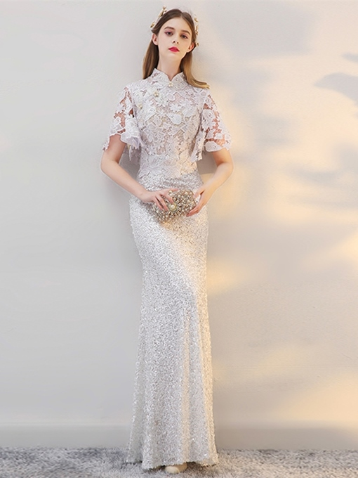 A-Line Lace Pearl Sequins Sheath Evening Dress