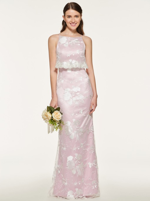 Spaghetti Straps Sheath Lace Bridesmaid Dress